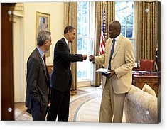 President Obama Gives A Fist-bump Acrylic Print by Everett