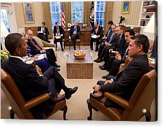 President Obama Holds Meeting Acrylic Print by Everett