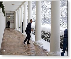 President Obama In A Snowball Fight Acrylic Print by Everett