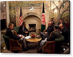 President Obama Meets With Afghan Acrylic Print by Everett