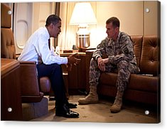 President Obama Meets With Army Gen Acrylic Print by Everett