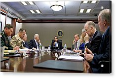 President Obama Meets With His National Acrylic Print by Everett