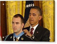 President Obama Presents The Medal Acrylic Print by Everett