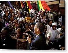 President Obama Shakes Hands Acrylic Print by Everett