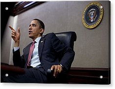 President Obama Speaks During A Meeting Acrylic Print by Everett