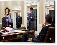 President Obama Talking Acrylic Print by Everett