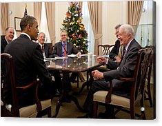 President Obama Talks With Former Acrylic Print by Everett