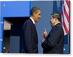 President Obama Talks With Indonesian Acrylic Print by Everett