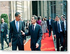 President Obama Walks With French Acrylic Print by Everett