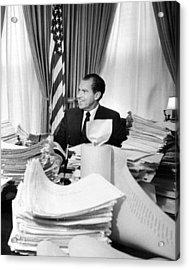 President Richard Nixon Sitting Among Acrylic Print by Everett