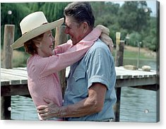 President Ronald And Nancy Reagan In An Acrylic Print by Everett
