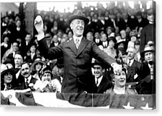 President Woodrow Wilson Throws Throws The First Pitch On Opening Day - C 1916 Acrylic Print by International  Images