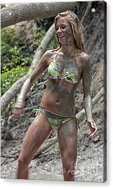 Pretty Girl Covered With Mud Acrylic Print by Christopher Purcell
