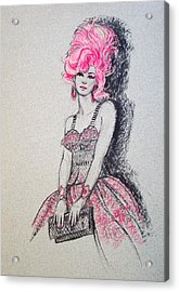 Acrylic Print featuring the drawing Pretty In Pink Hair by Sue Halstenberg