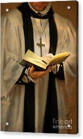 Priest With Open Bible Acrylic Print by Jill Battaglia