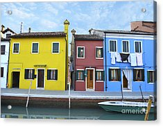 Acrylic Print featuring the photograph Primary Colors In Burano Italy by Rebecca Margraf