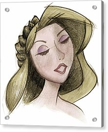 Princess - Drawing With Digital Color Acrylic Print by Andrew Fling