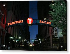 Printers Alley In Nashville Acrylic Print by Kristin Elmquist