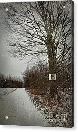 Private Property Sign On Tree In Winter Acrylic Print by Sandra Cunningham