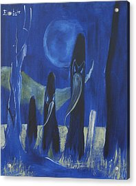 Procession Of The Plague Doctors 2 Acrylic Print by Christophe Ennis
