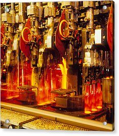Production Line In Manufacture Of Glass Bottles Acrylic Print by Victor De Schwanberg