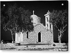Prophet Elias Church Profitis Ayios Elias With Prayer Rag Trees Hilltop Protaras Republic Of Cyprus Acrylic Print by Joe Fox