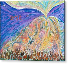 Prophetic Message Sketch 22 Sanctify Glory Pouring Into Vessel On The Mountain  Acrylic Print by Anne Cameron Cutri