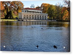 Prospect Park Boathouse In Fall Acrylic Print by Diane Lent