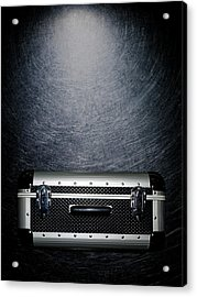 Protective Luggage Case On Stainless Steel. Acrylic Print by Ballyscanlon