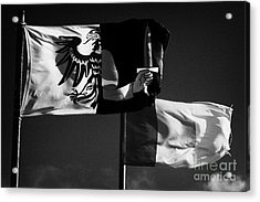 Provincial Connacht And Irish Tricolour Flags Flying In Republic Of Ireland Acrylic Print by Joe Fox