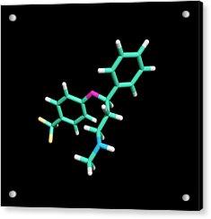 Prozac Antidepressant Drug Molecule Acrylic Print by Dr Tim Evans