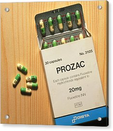 Prozac Pack With Pills On Wooden Surface Acrylic Print by Damien Lovegrove