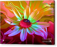 Psychedelic Flower Acrylic Print by Doris Wood