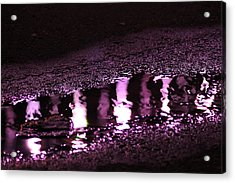 Acrylic Print featuring the photograph Puddle In Purple Reflection by Carolina Liechtenstein