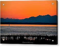 Puget Sound Sunset Acrylic Print by Sarai Rachel