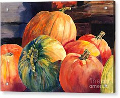 Pumpkins And Green Pumpkin Acrylic Print