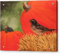 Acrylic Print featuring the painting Pumpkins And Sparrow by Janet Greer Sammons