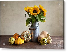 Pumpkins And Sunflowers Acrylic Print by Nailia Schwarz