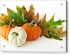 Pumpkins Autumns Leaves And Gourds Acrylic Print