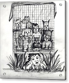 Puppy Mill Discovered Acrylic Print by Carol Allen Anfinsen