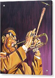 Purple And Gold Dizzy Gillespie Acrylic Print