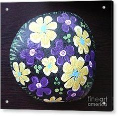Purple And Yellow Flowers Acrylic Print by Monika Shepherdson