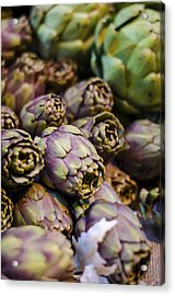 Purple Artichokes At The Market Acrylic Print by Heather Applegate