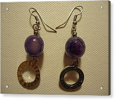Purple Doodle Drop Earrings Acrylic Print by Jenna Green