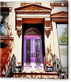 Purple Door - Brooklyn - New York City Acrylic Print by Vivienne Gucwa