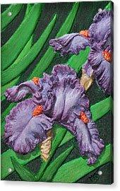 Purple Iris Flowers Sculpture Acrylic Print by Valerie  Evanson