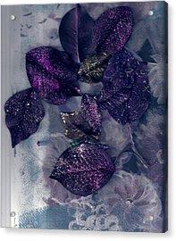 Purple Leaves All Glittery Acrylic Print by Anne-Elizabeth Whiteway