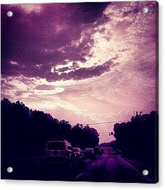 #purple #sky #clouds #driving Acrylic Print