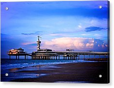 Purple Sunset Pier Acrylic Print by Catherine Murton