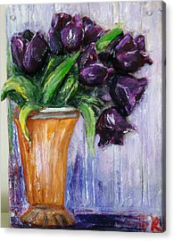 Purple Tulips In Vase Acrylic Print